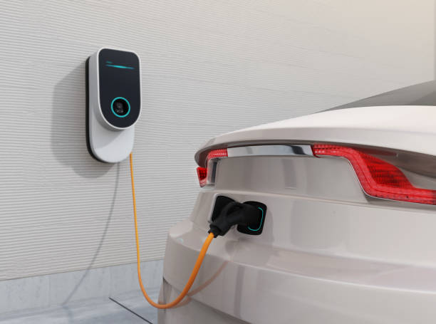 Electric vehicle charging station for home Electric vehicle charging station for home.  3D rendering image. electric vehicle stock illustrations