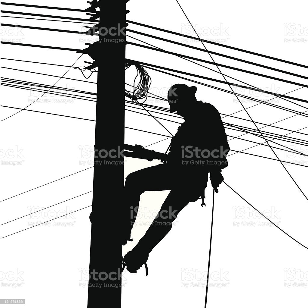 Electric Worker Silouete vector art illustration