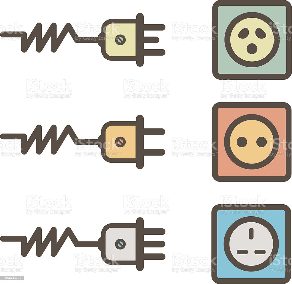 electrical sockets retro design royalty-free stock vector art