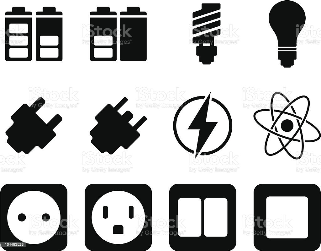 Electricity and energy icon set royalty-free stock vector art