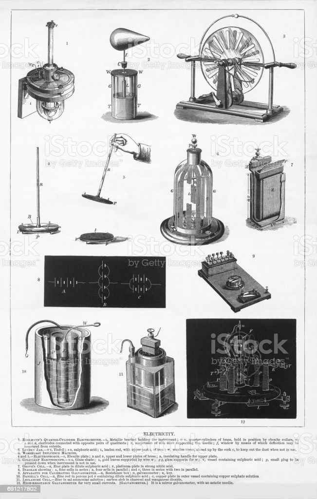 Electricity, Engraving, 1892 vector art illustration