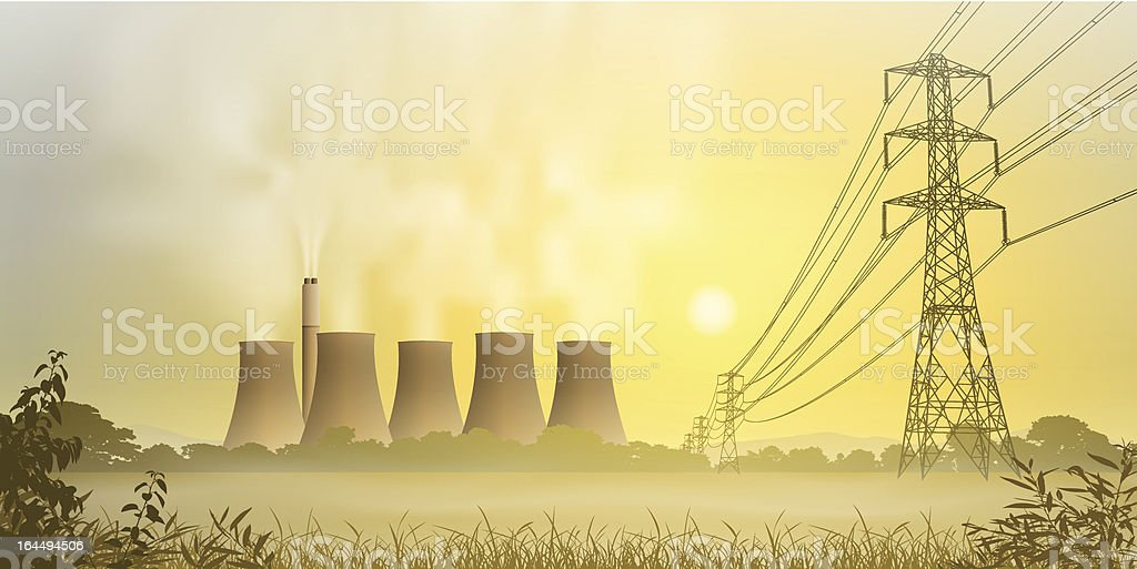 Electricity Plant royalty-free electricity plant stock vector art & more images of backgrounds