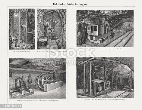 The Electrification in mining at the end of the 19th century: 1) Electric lighting; 2) Electric hammer drill; 3) Through a DC motor driven chain conveyor; 4) By a DC motor driven fan; 5) Hauling windlass driven by a direct current motor. Wood engravings, published in 1898.