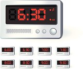 Electric Alarm Clock showing eight different times.