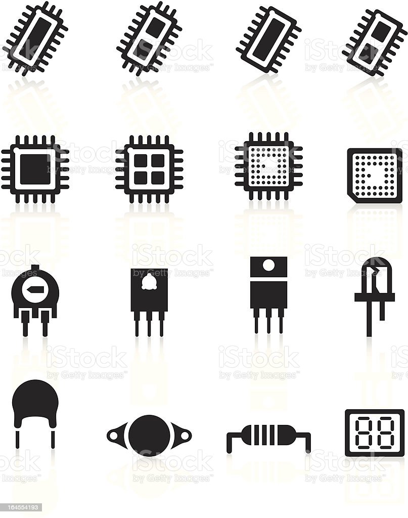 electronic component icons black series stock vector art