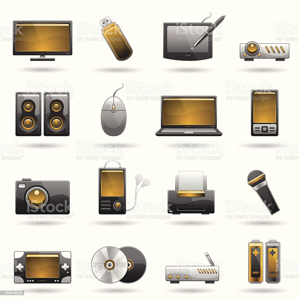Electronic Icon Set royalty-free electronic icon set stock vector art & more images of business