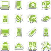 Electronics icons for web. Green sticker