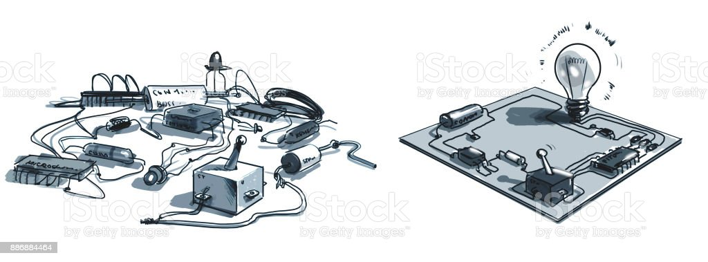 electronics kit, electronic Board vector art illustration