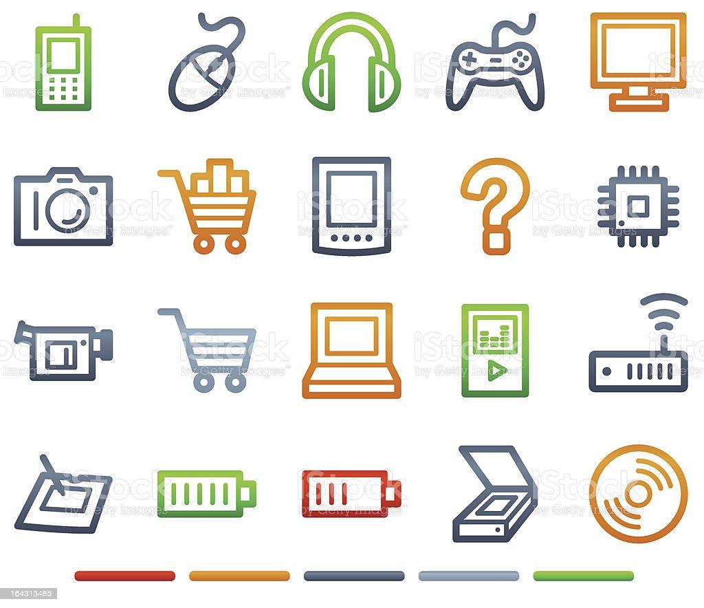 Electronics web icons, colour symbols series royalty-free stock vector art