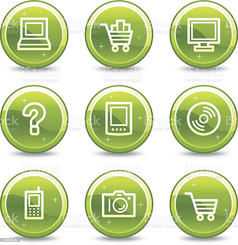 Electronics web icons, green glossy circle buttons series royalty-free electronics web icons green glossy circle buttons series stock vector art & more images of cd-rom