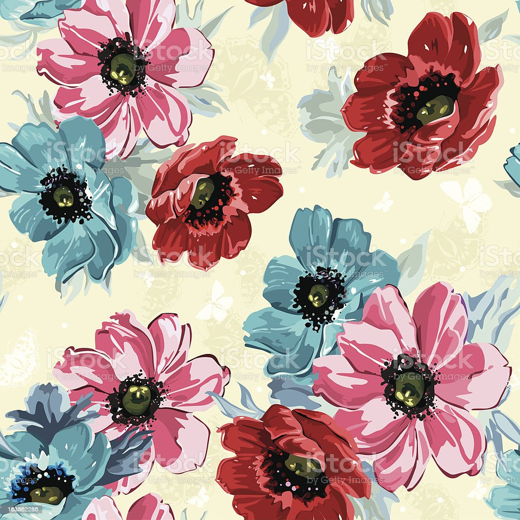 Elegance Seamless Color Flowers Pattern On Light Background Stock ...