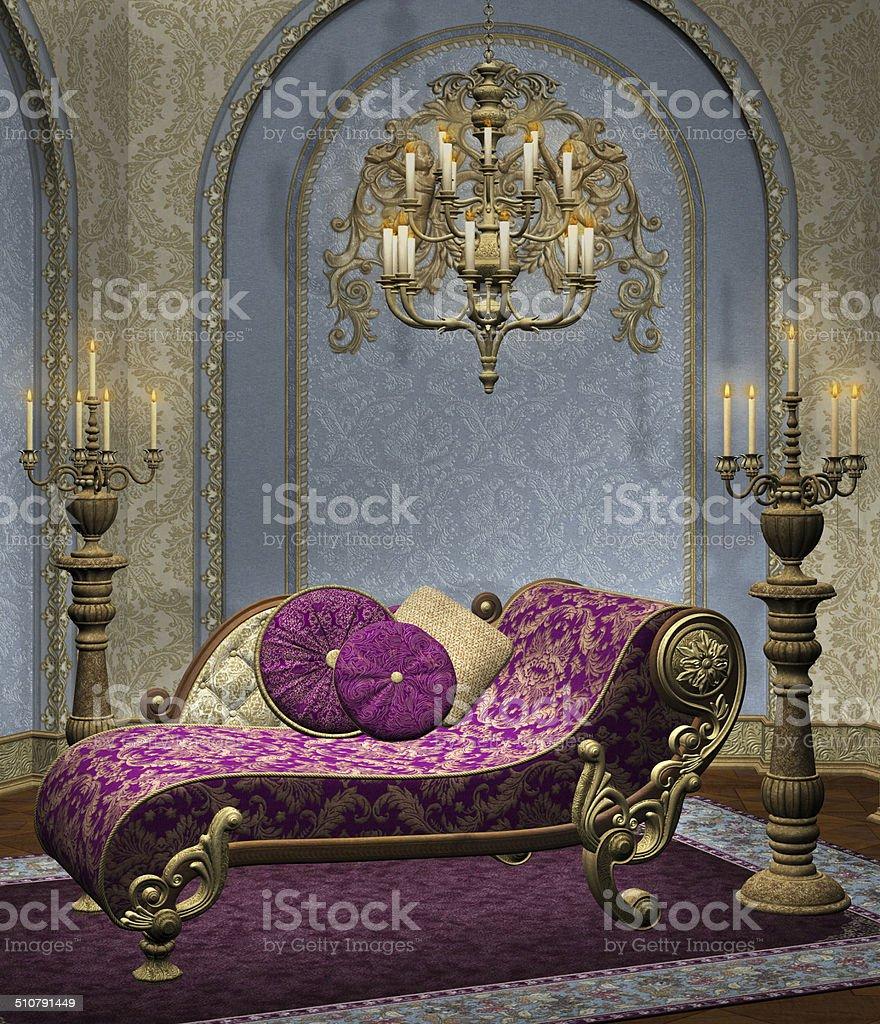 Elegant baroque room vector art illustration