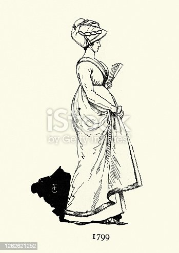 istock Elegant young woman, period costume, late 18th Century 1262621252