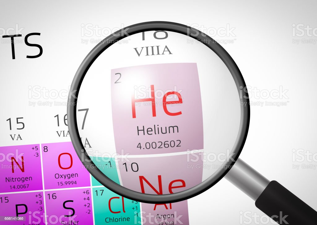 Element of Helium with magnifying glass vector art illustration