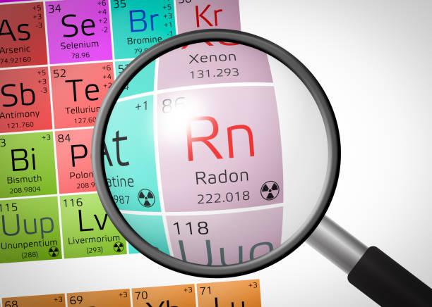 stockillustraties, clipart, cartoons en iconen met element van radon met vergrootglas - radon test