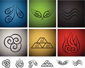 A collection of elemental symbols.