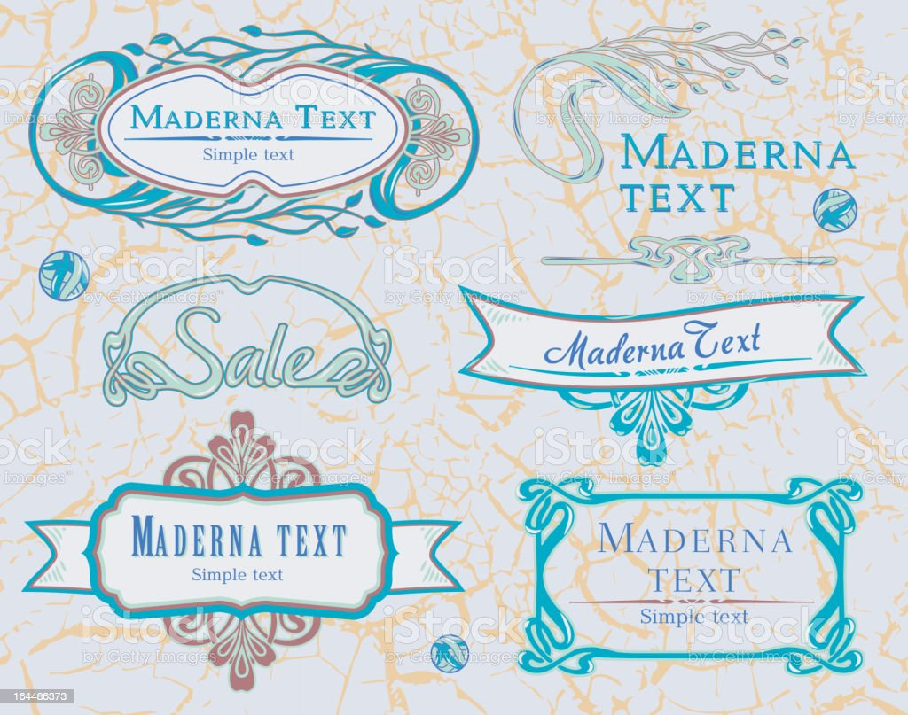 Elements Art Nouveau blue royalty-free stock vector art