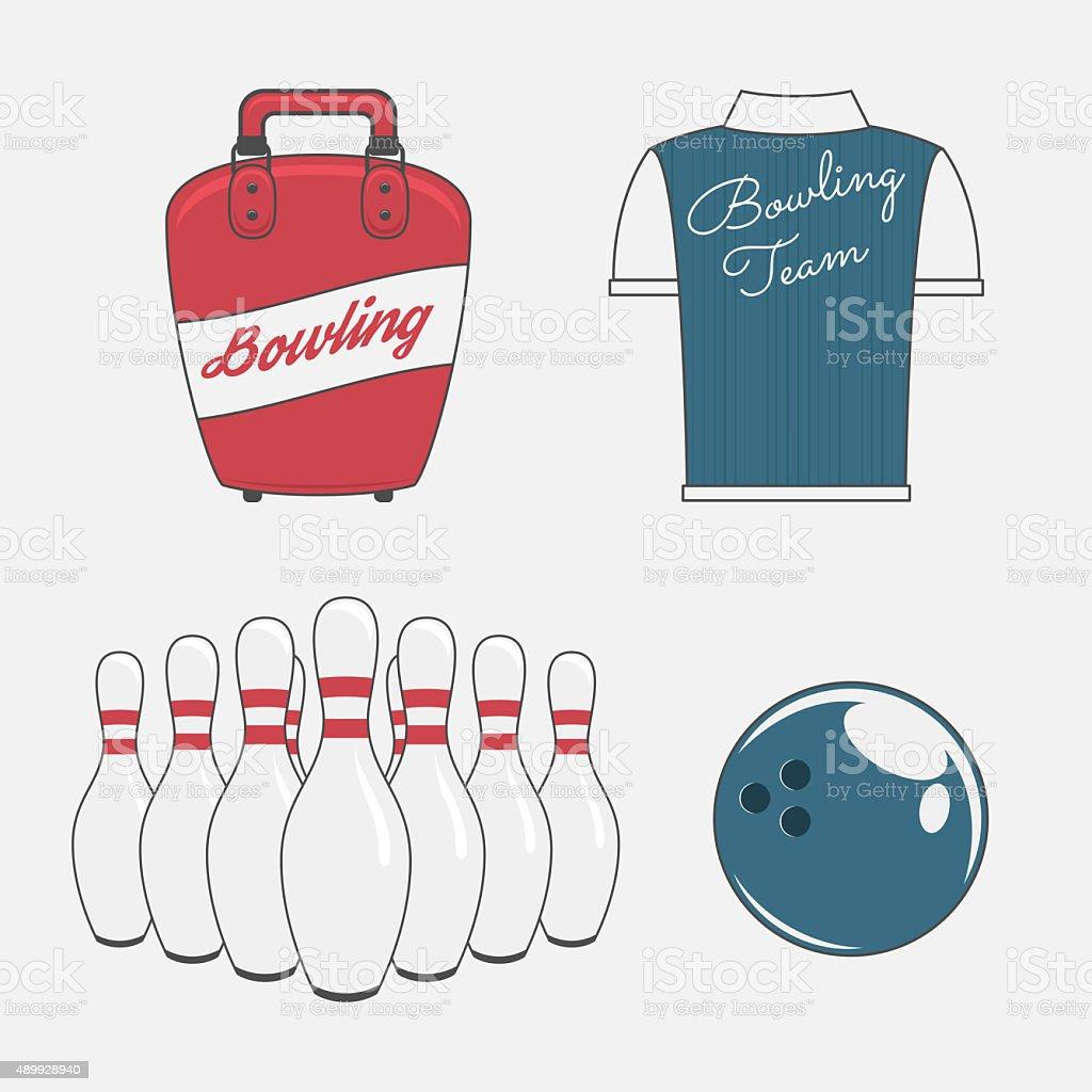 Elements Set for a Bowling Team vector art illustration