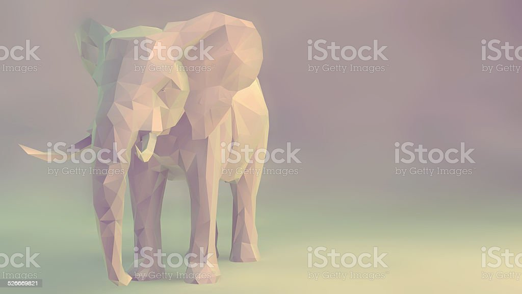 elephant, abstract geometric low poly. vector art illustration