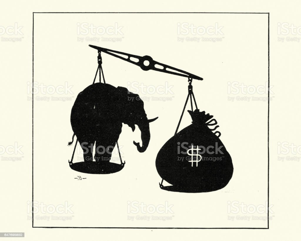 Elephant and dollar money bag of scales vector art illustration