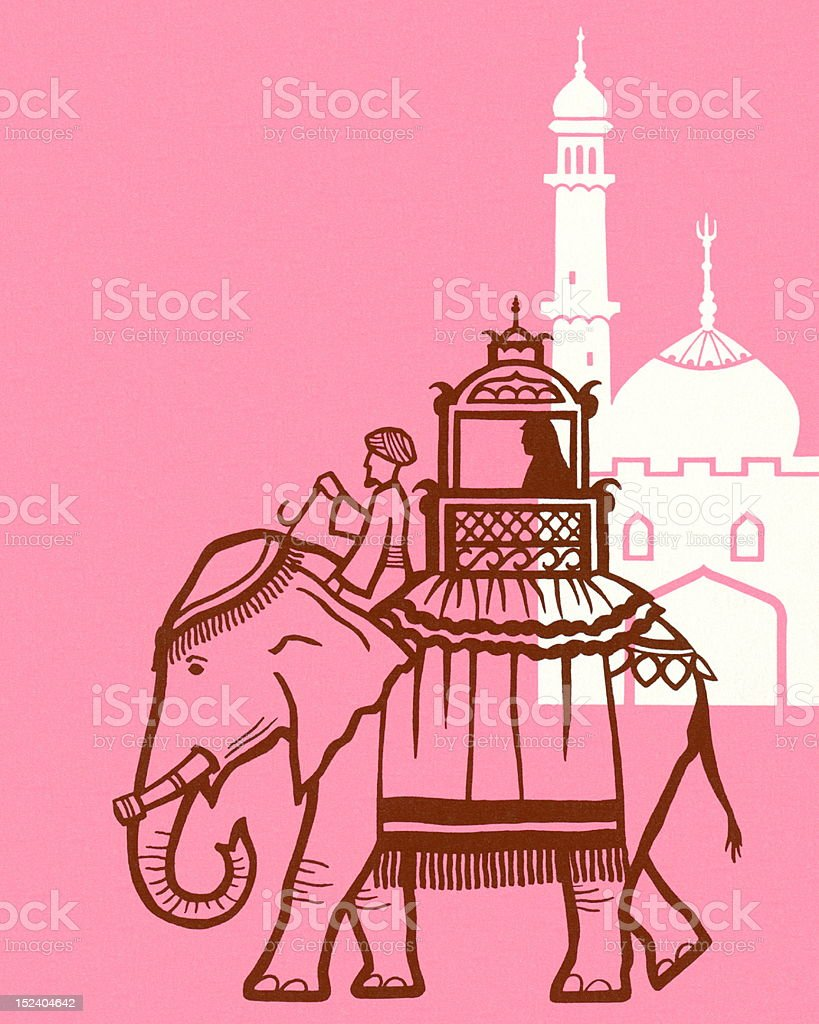 Elephant and Mosque royalty-free elephant and mosque stock vector art & more images of animal