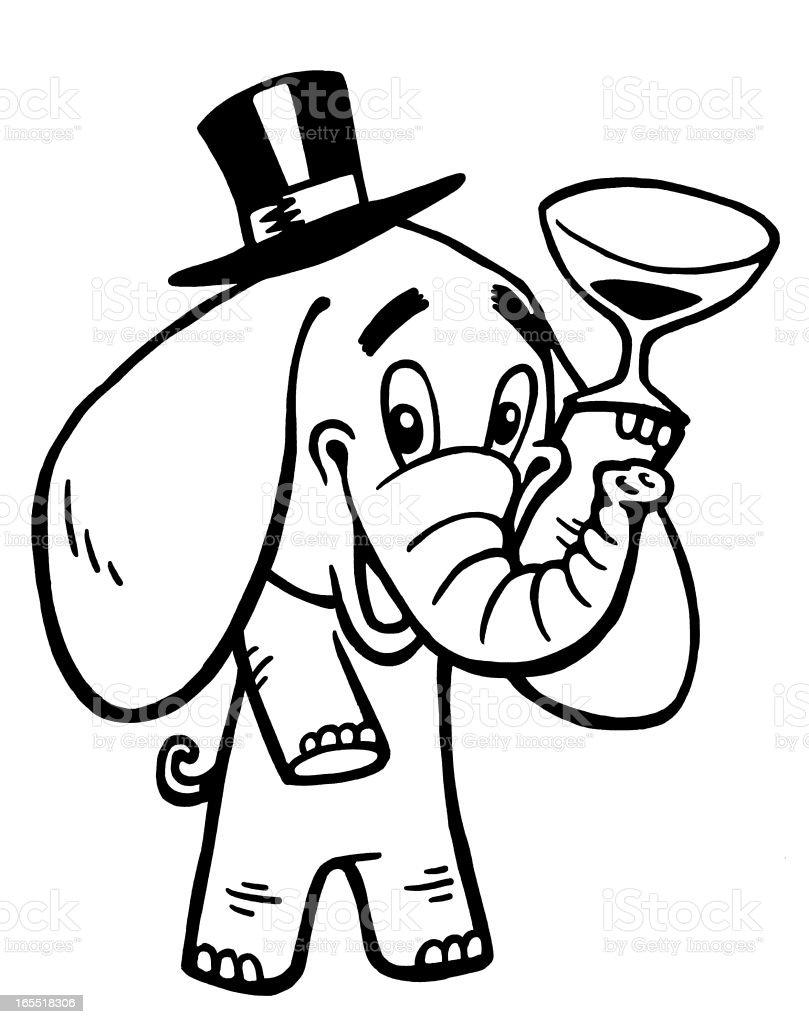 Elephant Drinking Wine royalty-free stock vector art