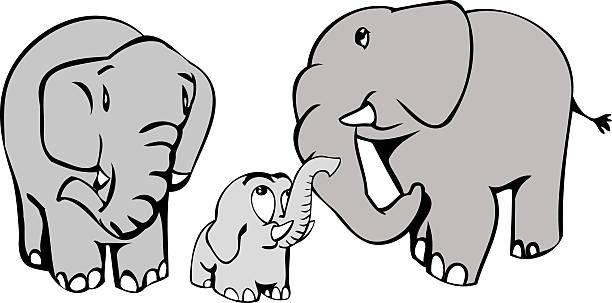 Elefanten Familie – Vektorgrafik