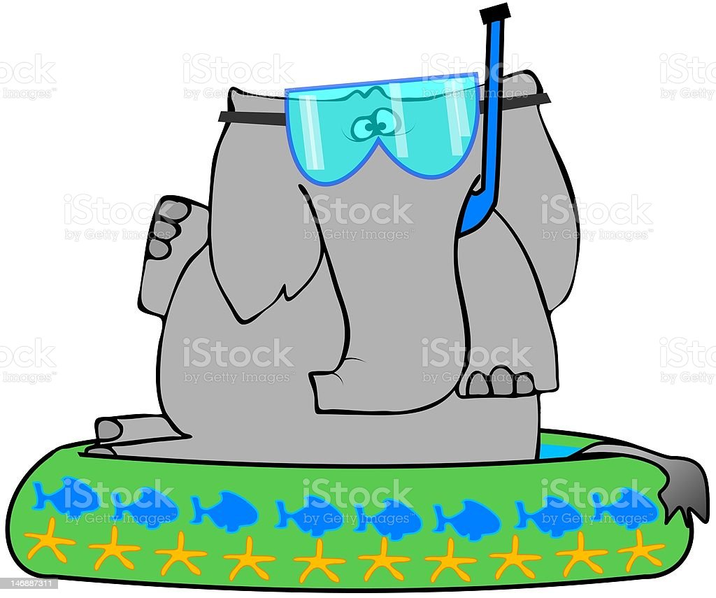 Elephant In A Kiddie Pool vector art illustration