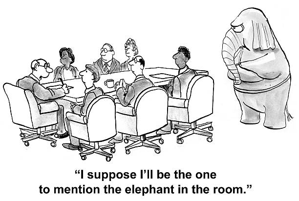 elephant in the room - elephant stock illustrations
