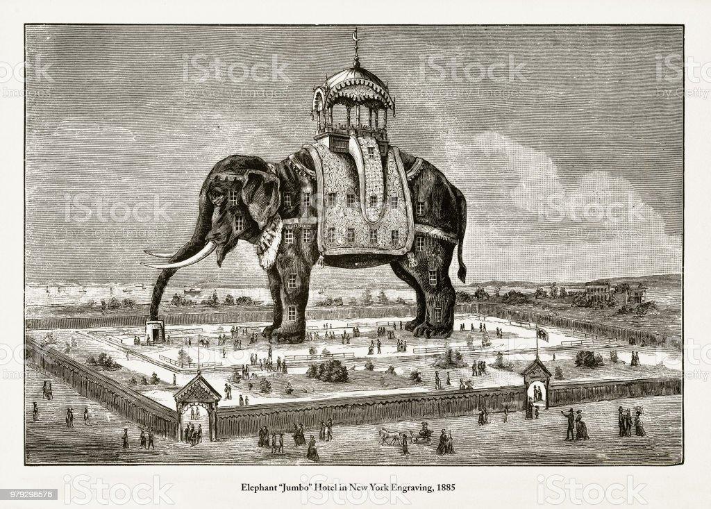 """Elephant """"Jumbo"""" Hotel in New York Engraving vector art illustration"""