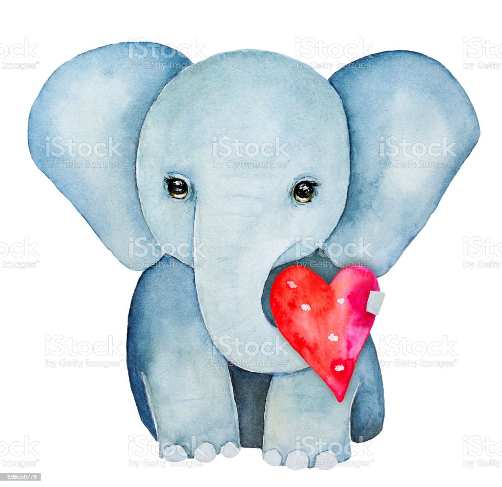 Elephant Kid Character Portrait Holding A Red Pink Heart With Trunk ...