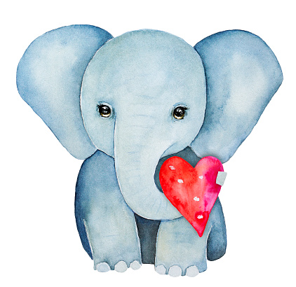 Elephant kid character portrait, holding a red pink heart with trunk.