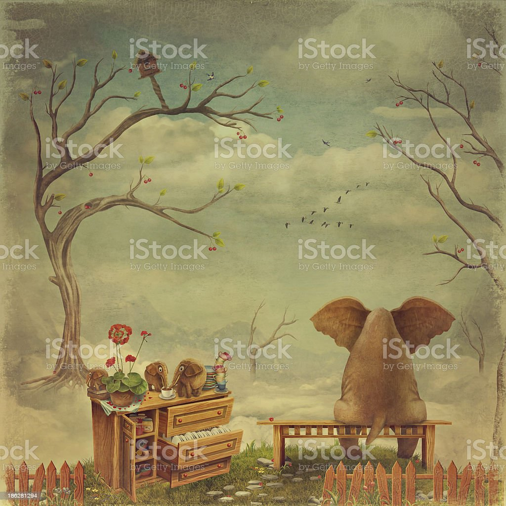 Elephant on a bench in the sky vector art illustration