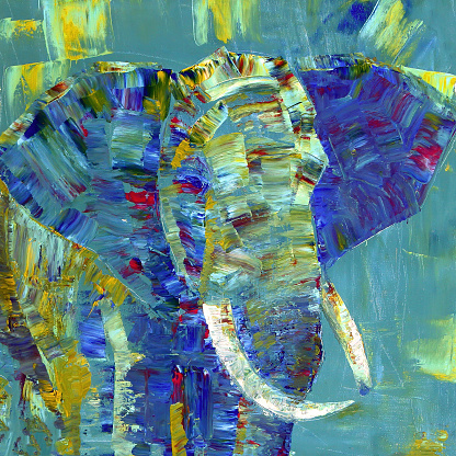 Elephant painted with acrylics on canvas