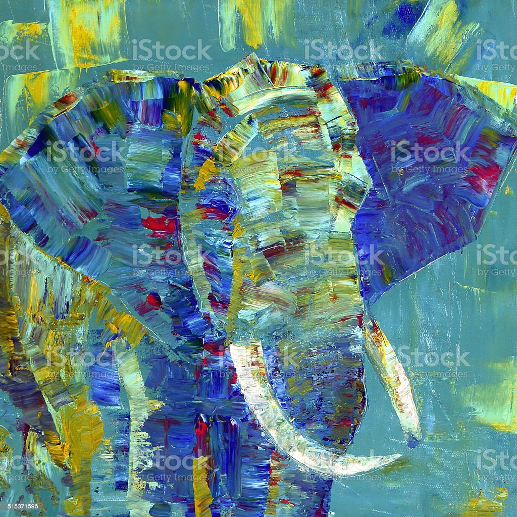 Elephant painted with acrylics on canvas vector art illustration