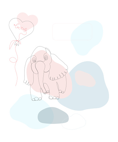 Elephant pink with a heart balloon and the inscription love with a place for the inscription