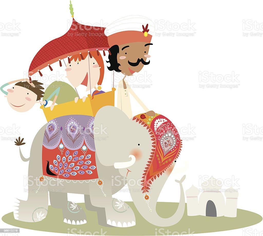 elephant ride at Taj Mahal - Royaltyfri Arbetsdjur vektorgrafik