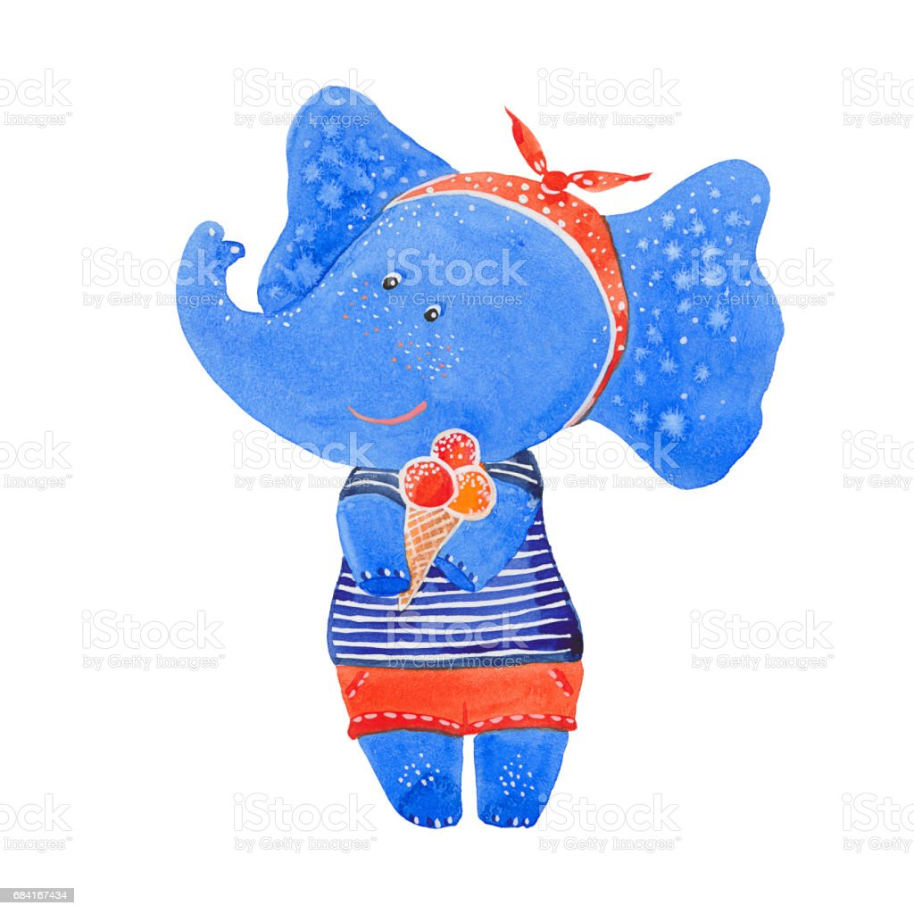 Elephant with ice cream royalty-free elephant with ice cream stock vector art & more images of animal
