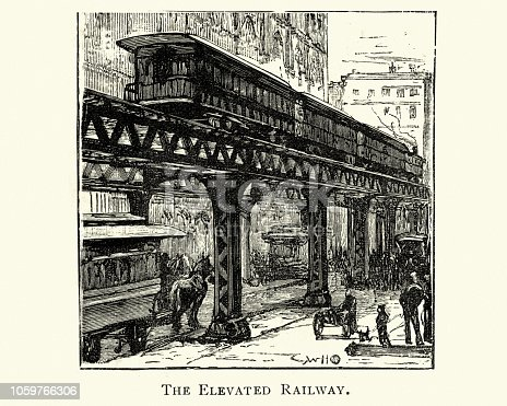 Vintage engraving of Elevated Railway, New York City, 19th Century