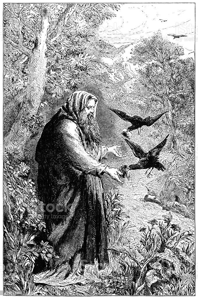 Elijah being fed by ravens (Victorian engraving) vector art illustration