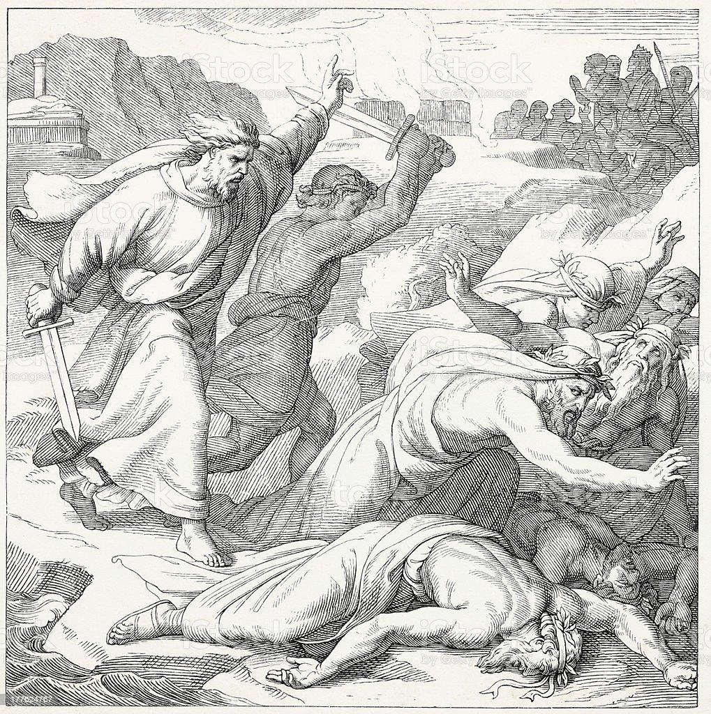 Elijah killing prophets of Baal vector art illustration
