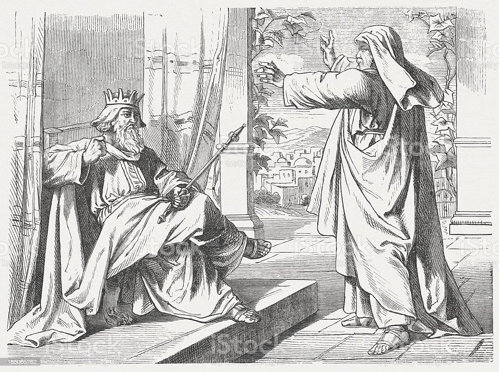Elijah Proclaims a Drought (1 Kings 17, 1), published 1877 vector art illustration