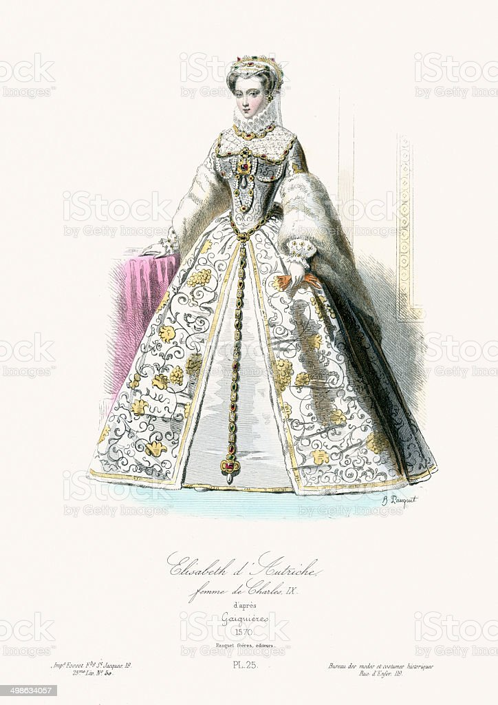 Elisabeth of Austria, Queen of France royalty-free stock vector art