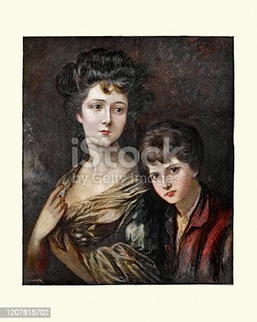Vintage engraving of Elizabeth Ann Sheridan (nee Linley) and her brother, 1768. After Thomas Gainsborough. Elizabeth Ann Sheridan (née Linley) (September 1754 – 28 June 1792) was a singer who possessed great beauty.
