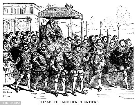Elizabeth I and her courtiers - Scanned 1897 Engraving