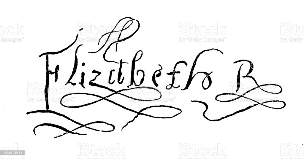 Elizabeth I of England signature vector art illustration