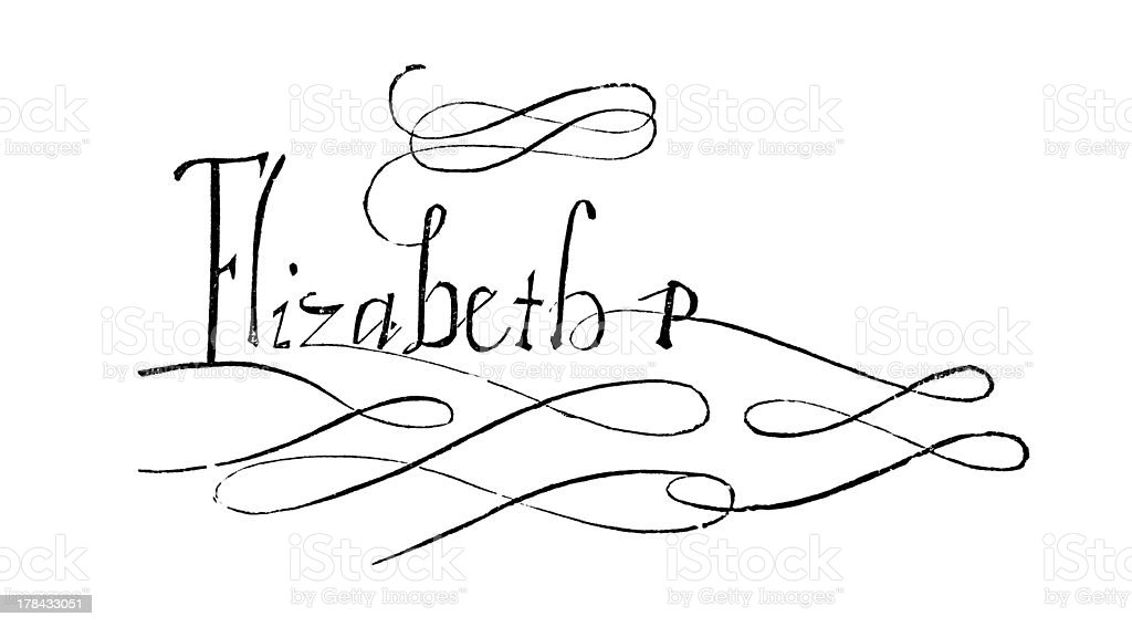 Elizabeth I Signature royalty-free elizabeth i signature stock illustration - download image now