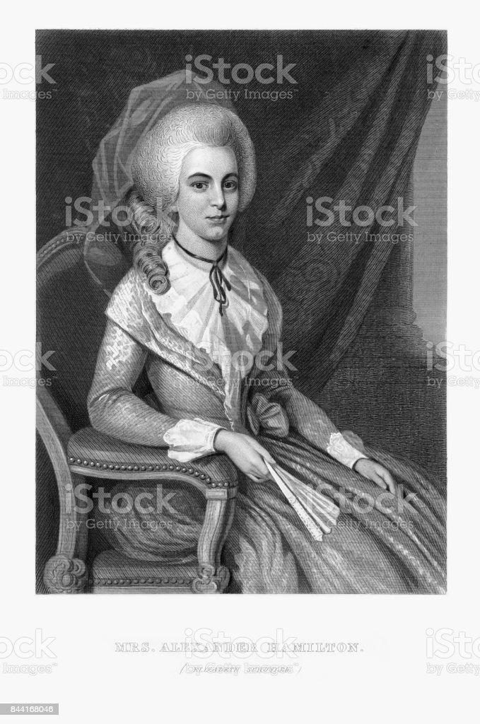 Elizabeth Schuyler, Mrs. Alexander Hamilton, Engraved Portrait of Circa 1780 vector art illustration