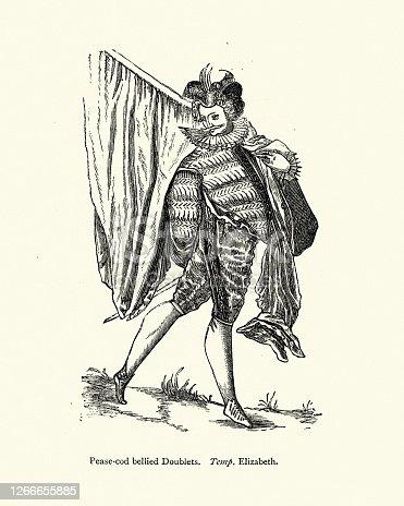 Vintage illustration Elizabethan mens fashion, Pease-cod bellied doublet