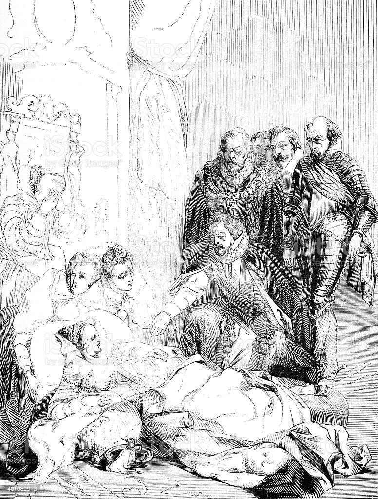 Elizabeth's death by Delaroche royalty-free stock vector art